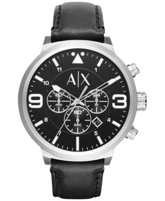 A|X Armani Exchange Men's Chronograph Black Leather Strap Watch 49mm AX1371
