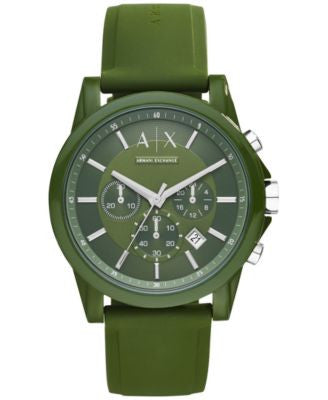A|X Armani Exchange Unisex Chronograph Green Silicone Strap Watch 44mm AX1329