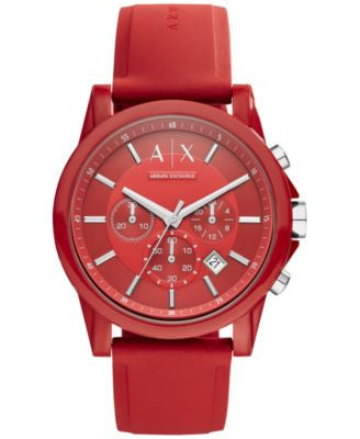 A|X Armani Exchange Unisex Chronograph Red Silicone Strap Watch 44mm AX1328
