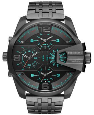 Diesel Men's Chronograph Uberchief Gunmetal Ion-Plated Stainless Steel Bracelet Watch 55x62mm DZ7372