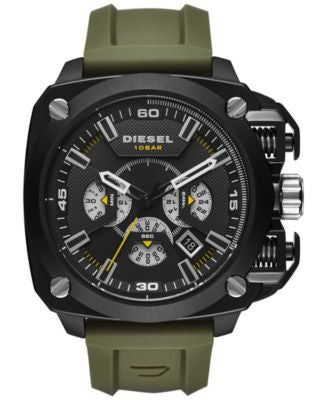 Diesel Men's Chronograph BAMF Olive Silicone Strap Watch 52x57mm DZ7369