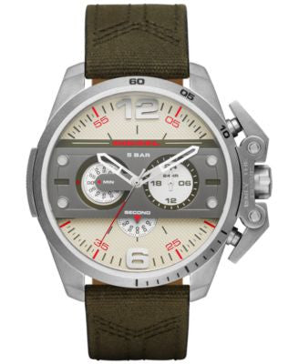 Diesel Men's Chronograph Ironside Tan Leather & Black Canvas Strap Watch 48x55mm DZ4389