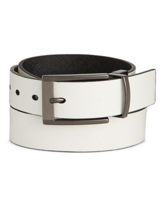 Alfani Men's Cut-Edge Saffiano-Texture Reversible Belt, Only at Vogily