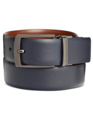 Perry Ellis Men's Leather First Navy Reversible Belt