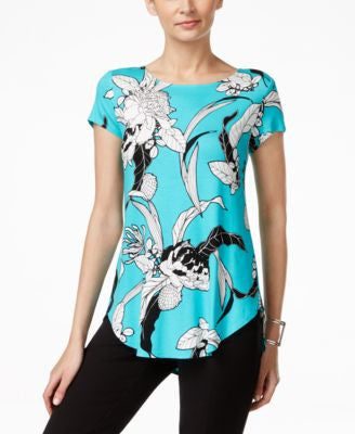 Alfani Petite Floral-Print Round-Hem T-Shirt, Only at Vogily