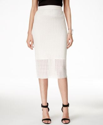 Alfani Perforated Pull-On Pencil Skirt, Only at Vogily