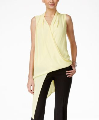 Alfani Petite Draped Surplice Asymmetrical Top, Only at Vogily