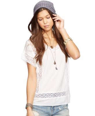 Denim & Supply Ralph Lauren Crochet-Panel Cotton Gauze Top