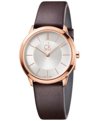 Calvin Klein minimal Unisex Swiss Minimal Brown Leather Strap Watch 35mm K3M226G6