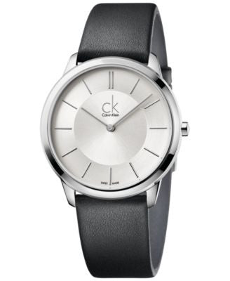 Calvin Klein minimal Men's Swiss Minimal Black Leather Strap Watch 40mm K3M211C6