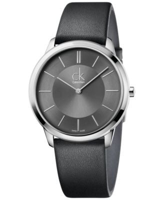 Calvin Klein minimal Men's Swiss Minimal Black Leather Strap Watch 40mm K3M211C4