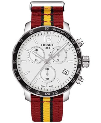 Tissot Unisex Swiss Chronograph Miami Heat Quickster Red, Black and Yellow Strap Watch 42mm T0954171