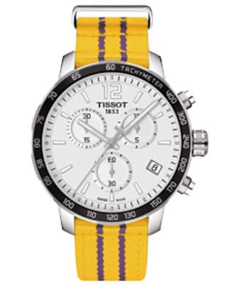 Tissot Unisex Swiss Chronograph Los Angeles Lakers Quickster Yellow and Purple Strap Watch 42mm T095