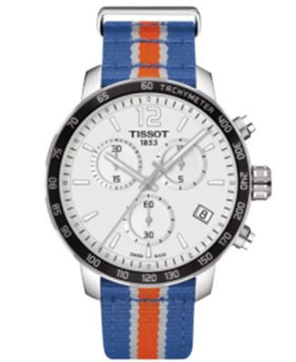 Tissot Unisex Swiss Chronograph New York Knicks Quickster Blue, White and Orange Strap Watch 42mm T0