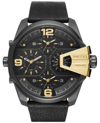 Diesel Men's Chronograph Uberchief Black Leather Strap Watch 55x62mm DZ7377