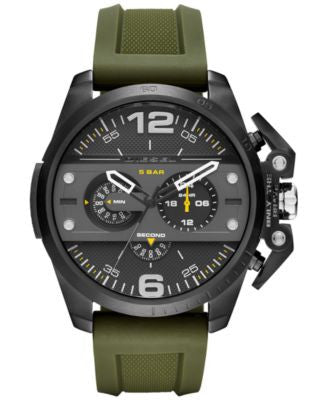 Diesel Men's Chronograph Ironside Olive Silicone Strap Watch 48x55mm DZ4391