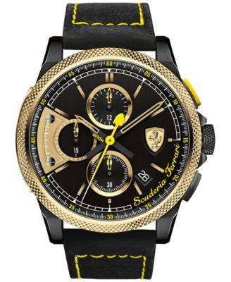 Scuderia Ferrari Men's Chronograph Formula Italia Black Leather Strap Watch 46mm 0830314