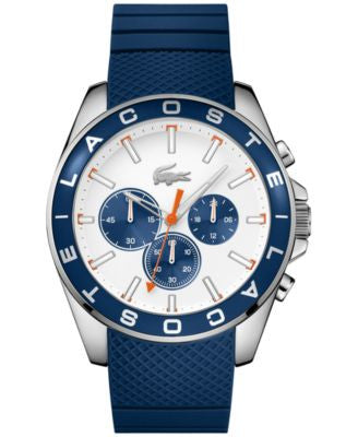 Lacoste Men's Chronograph Westport Blue Silicone Strap Watch 45mm 2010854