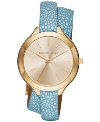 Michael Kors Women's Slim Runway Blue Leather Double-Wrap Strap Watch 42mm MK2478