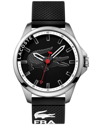 Lacoste Men's Capbreton Black Silicone Strap Watch 46mm 2010840