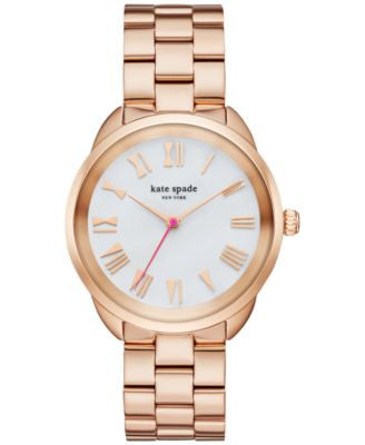kate spade new york Women's Crosstown Rose Gold-Tone Stainless Steel Bracelet Watch 34mm KSW1091