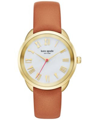 kate spade new york Women's Crosstown Luggage Leather Strap Watch 34mm KSW1063