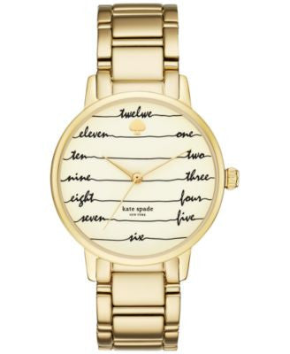 kate spade new york Women's Gramercy Gold-Tone Stainless Steel Bracelet Watch 34mm KSW1060