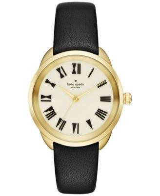 kate spade new york Women's Crosstown Black Leather Strap Watch 34mm KSW1093