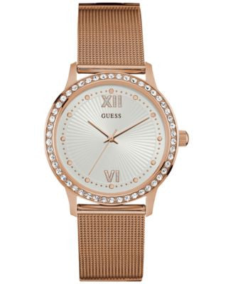 GUESS Women's Rose Gold-Tone Stainless Steel Mesh Bracelet Watch 39mm U0766L3