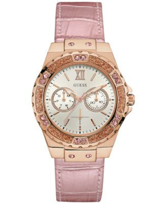 GUESS Women's Metallic Pink Leather Strap Watch 39mm U0775L3