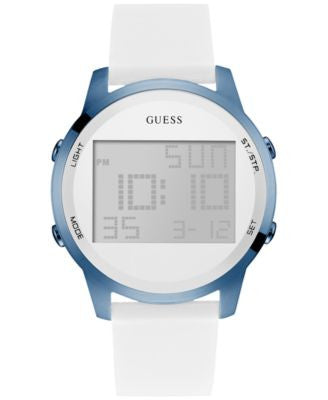 GUESS Women's Digital Chronograph White Silicone Strap Watch 46mm U0815L3