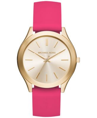 Michael Kors Women's Slim Runway Sporty Pink Silicone Strap Watch 42mm MK2510, Only at Vogily