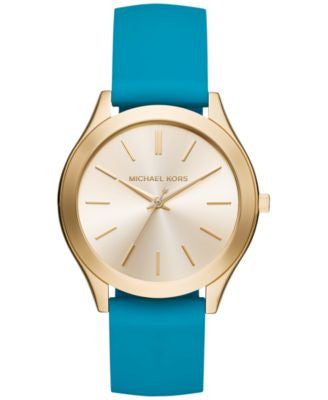 Michael Kors Women's Slim Runway Sporty Teal Silicone Strap Watch 42mm MK2509, Only at Vogily