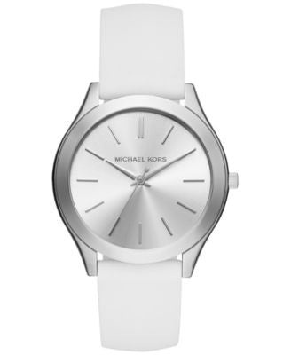 Michael Kors Women's Slim Runway Sporty White Silicone Strap Watch 42mm MK2508, Only at Vogily