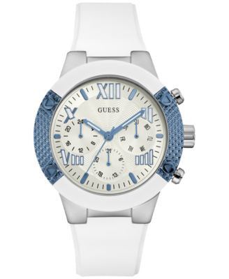 GUESS Women's White Silicone Strap Watch 44mm U0772L3