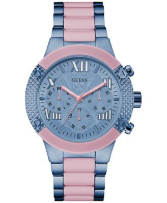 GUESS Women's Blue and Pink Ion-Plated Stainless Steel Bracelet Watch 44mm U0770L4