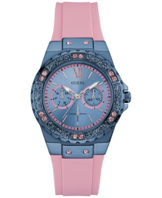 GUESS Women's Pink Silicone Strap Watch 39mm U0775L5