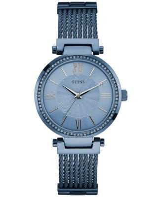 GUESS Women's Sky Blue Ion-Plated Stainless Steel Bracelet Watch 36mm U0638L3