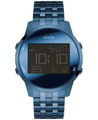 GUESS Men's Digital Chronograph Blue Ion-Plated Stainless Steel Bracelet Watch 46mm U0786G3