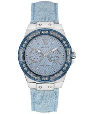 GUESS Women's Sky Blue Sparkle Denim on Leather Strap Watch 39mm U0775L1