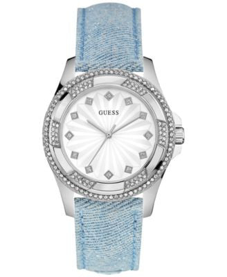 GUESS Women's Sky Blue Sparkle Denim on Leather Strap Watch 39mm U0703L3