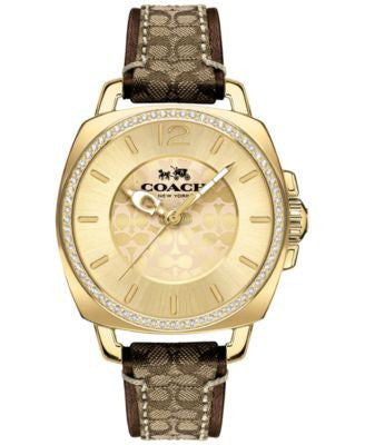 COACH WOMEN'S BOYFRIEND MAHOGANY LEATHER & KHAKI FABRIC STRAP WATCH 34MM 14502509