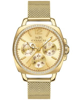 COACH WOMEN'S BOYFRIEND GOLD-TONE STAINLESS STEEL MESH BRACELET WATCH 34MM 14502490
