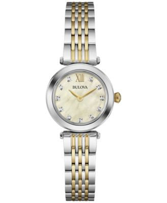 Bulova Women's Diamond Accent Two-Tone Stainless Steel Bracelet Watch 24mm 98P154