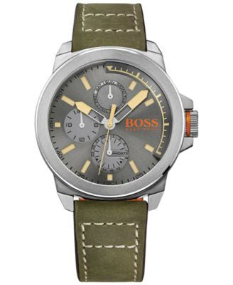 BOSS Orange Men's New York Green Leather Strap Watch 44mm 1513318