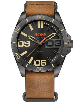 BOSS Orange Men's Berlin Brown Leather Strap Watch 48mm 1513316