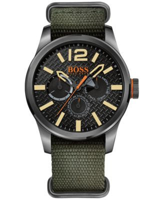 BOSS Orange Men's Paris Green Grosgrain Strap Watch 47mm 1513312