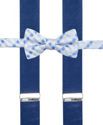 Alfani Spectrum Max Gingham Pre-Tied Bow Tie and Suspender Set, Only at Vogily