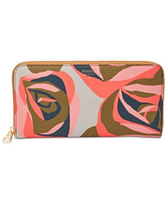 Fossil Sydney Floral Leather Zip Around Wallet