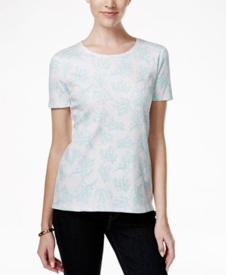Charter Club Pima Cotton Coral-Print Tee, Only at Vogily